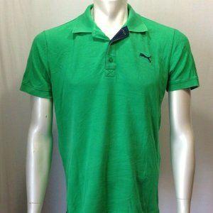 Puma Men's Green Cat Logo Short Sleeve Cotton Piqu